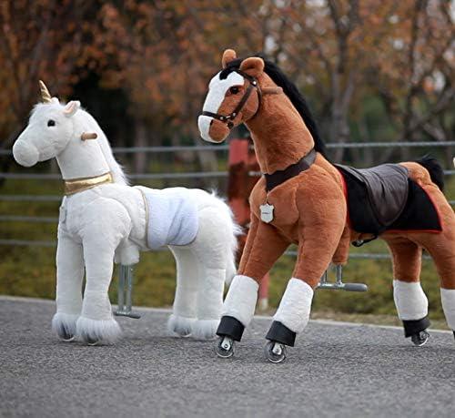 Unicornio con Cuerno Dorado Regalo de cumplea/ños Adecuado para ni/ños de 4 a 9 a/ños Altura de 36 Pulgada UFREE Caballo Pony mec/ánico para cabalgar