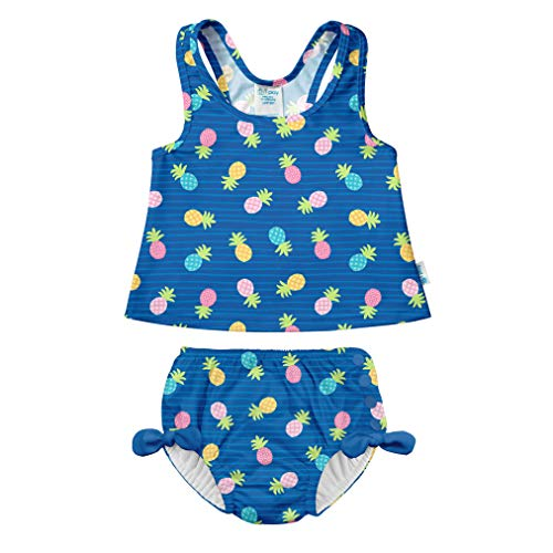 (i play. Baby Girls Two-Piece Bow Tankini with Snap Reusable Swimsuit Diaper, Blue Pineapple Stripe, 18mo)