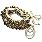 Prisha India Craft ® Kathak Ghungroo Pair, (50+50) (16 No. Ghungroo) Big Bells Tied with Cotton Cord Indian Classical Dancers Anklet Musical Instrument