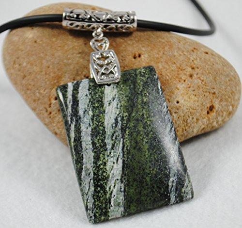 Rectangle Green Zebra Jasper Pendant Necklace