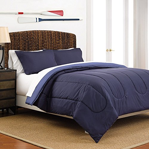 (Martex Two-Tone Solid Color Reversible Comforter and Sham Bedding Set - Super Soft Brushed Fabric - Navy Blue Reversing to Ceil Blue, Twin)