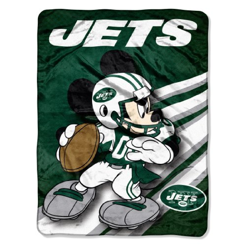 NFL New York Jets Mickey Mouse Ultra Plush Micro Super Soft Raschel Throw Blanket