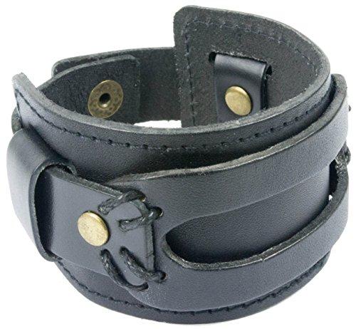 Genuine Leather Cuff Bracelet by Tundra Jewelry - Black (Leather Wrist Bracelets)