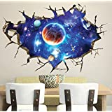 CHANS® 3D Wall Stickers,Cracked Wall Effect Planet World Outer Space Vinyl Wall Art Stickers,DIY Mural Wall Decals