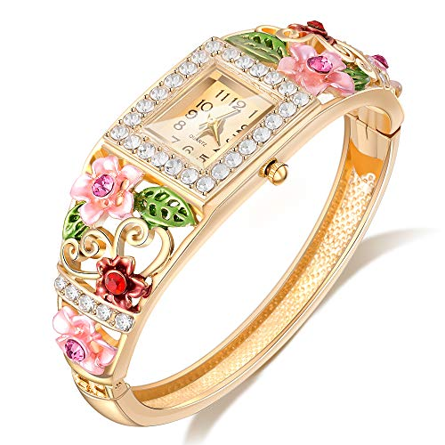 Womens Quartz Bangle Wrist Watch Lady Crystal Jewelry Bracelet Watches