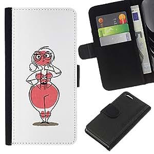 Be-Star la tarjeta de Crédito Slots PU Funda de cuero Monedero caso cubierta de piel Para Apple Iphone 5C ( Woman Venus Figure Hourglass Pink Glasses )