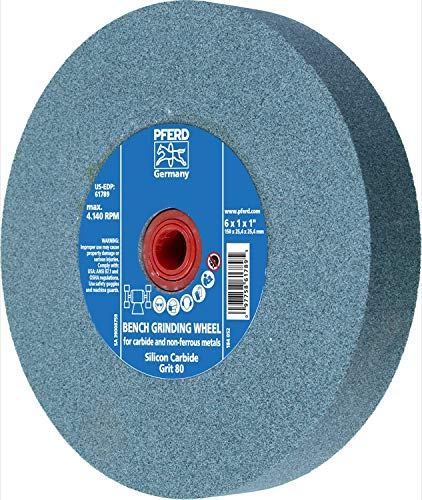 PFERD 61789 Bench Grinding Wheel, Silicon Carbide, 6'' Diameter, 1'' Thick, 1'' Arbor Hole, 80 Grit, 4140 Maximum RPM by Pferd