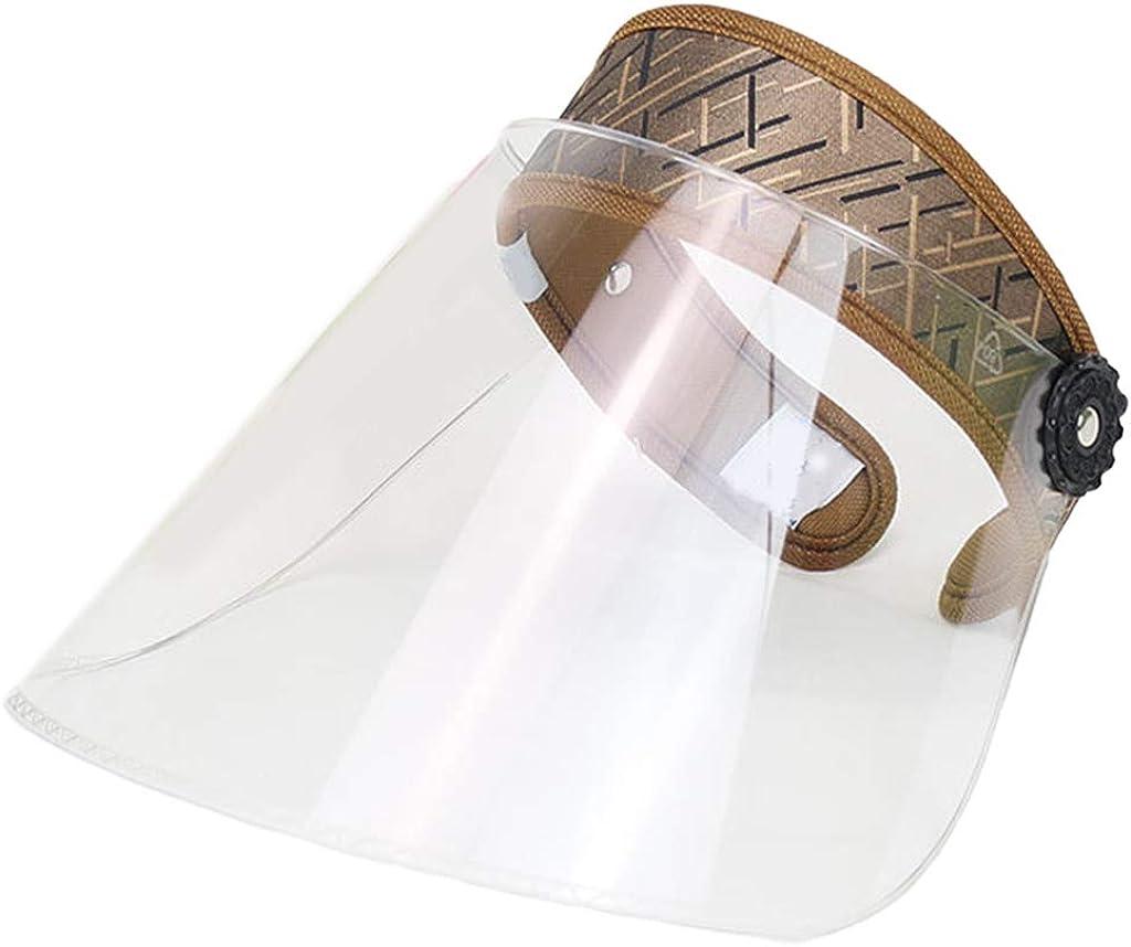 Ruda Empty Top Full Face Shield Protective Visor Cap Adjustable Anti-Spitting Sun Hat Travel Summer Beach Walking