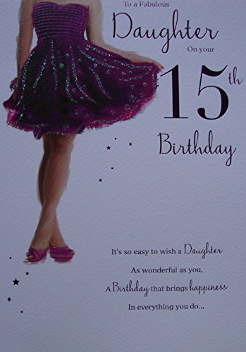 Amazon To A Fabulous Daughter Happy 15th Birthday Card Purple