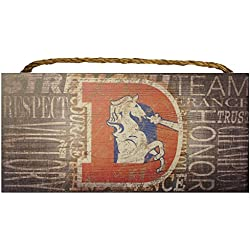 Denver Broncos NFL Team Classic Logo Garage Home Office Room Wood Sign with Hanging Rope - Collage 6X12 Heritage