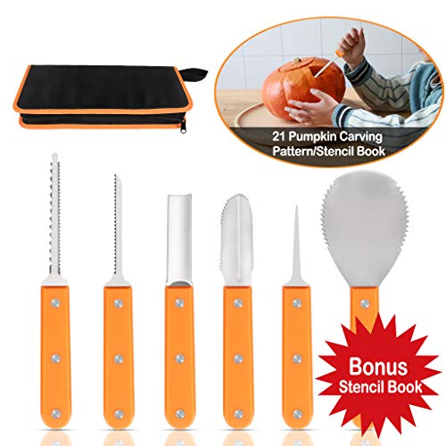 Premium Pumpkin Carving Kit for Halloween - Heavy Duty Stainless Steel Tools Set with Carrying Case (Plus 21 Pumpkin Carving Pattern/Stencil Manual) (Small Orange Carving Kit) -