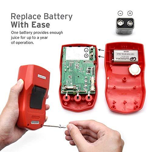 Multímetro digital Etekcity MSR-R500, medidor de prueba de voltaje de amperios voltios ohmios con diodo y prueba de continuidad, fusible doble para anti-quemaduras, rojo
