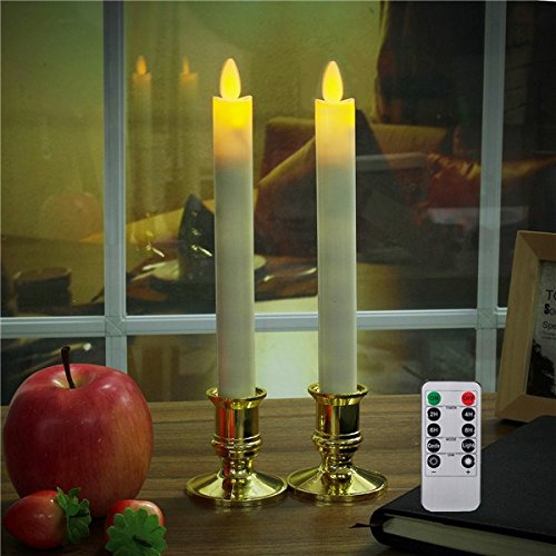 Flameless Double Wall Sconce - ACHKL 2Pcs Battery Operated Remote Control LED Flameless Candle Table Lamp for Halloween Churches