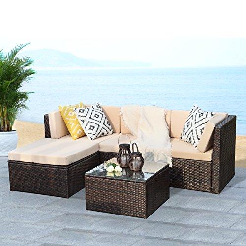 5PCS Outdoor Patio Furniture Set,Wisteria Lane Garden Lawn Rattan Sofa Cushioned Seat Wicker Sofa