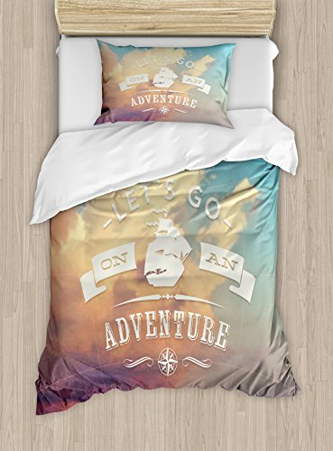 - Ambesonne Adventure Duvet Cover Set Twin Size, Open Sky with Sublime Cloud Inspiring Quote Let's Go on an Adventure Print, Decorative 2 Piece Bedding Set with 1 Pillow Sham, Sky Blue Cream