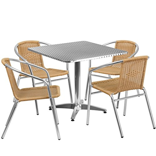 MFO 31.5'' Square Aluminum Indoor-Outdoor Table with 4 Beige Rattan Chairs