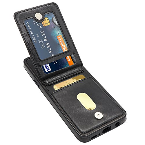 Galaxy S9 Plus Case, Galaxy S9 Plus Card Holder Case, LuckyBaby Premium Leather Folio Flip Galaxy S9 Plus Wallet Case with Credit Card Slots Shockproof Protective Case for Samsung Galaxy S9+ - Black