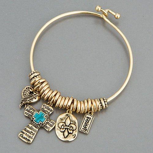 Wing Fleur - Gold Finish Cross Turquoise Wings Fleur De Lis Faith Charms Bangle Bracelet LL-1624