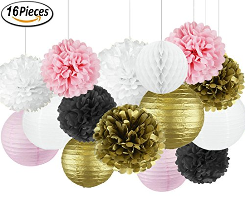 French/Parisian Birthday Party Ideas Pink Gold White Black Paris Party Decorations Tissue Paper Pom Pom Honeycomb Ball/Paper Lantern for Girls' Birthday Decorations Ooh La La Baby Shower (Paris Party Decoration Ideas)