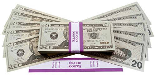 Big Screen Stacks PROP MONEY DOLLARS - $2,000 FULL PRINT 20 DOLLAR BILLS,  in Authentic Bank Strap  For Movies, Films, Money Guns Cash Cannon Play  Fake