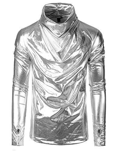 SOWTEE Men's Turtleneck Slim Fit Metallic Shiny Party Pullover Long Sleeve Shirt Large Silver