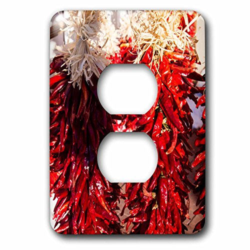 3dRose LSP_279247_6 USA, New Mexico, Sant, Red Chili Peppers on String. Santa Fe Plug Outlet Cover, by 3dRose