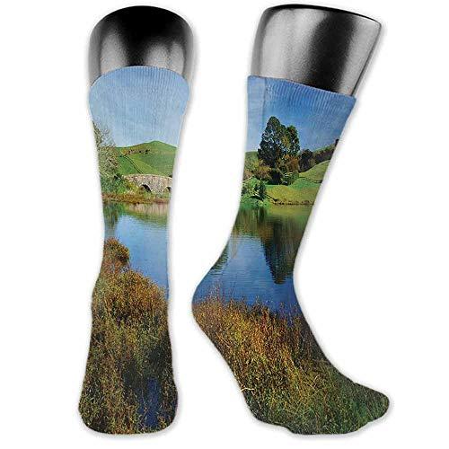Socks Creative Hobbits,Hobbit Land Village House by Lake with Stone Bridge Farmhouse Cottage New Zealand,Green Blue,socks women cotton 100%