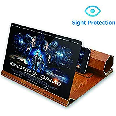 """ORETECH Screen Magnifier, 12"""" Foldable Smart Phone Screen Amplifier Projector Movie Video Enlarger Wooden Phone Holder Stand with 3D Screen Magnifying Amplifying Glass for All Smart Phone Model"""