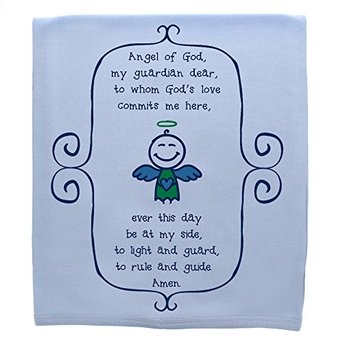 The Catholic Company Guardian Angel Prayer Baby Boy Blanket 100% Cotton Knit Pink 30'' x 40'' Graphic Print by The Catholic Company