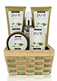 Pure! Herbal Collection Spa Basket - The gift that Keeps Giving!! Touchable Skin, Cleansed & Hydrated with Green Tea Spa Collection