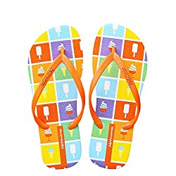 Hotmarzz Women S Ice Cream Printing Summer Beach Slippers Tong Sandals Flat Slides Size 3 B M Us 34 Eu 35 Cn Orange