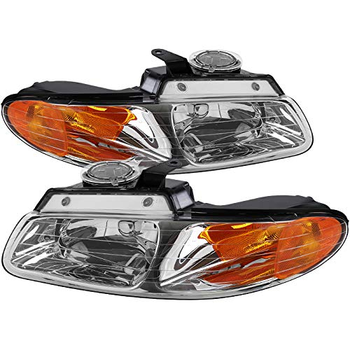 (Carpartsinnovate 96-00 Caravan Town & Country Voyager Clear Lens Headlights Head Lamps Left+Right)