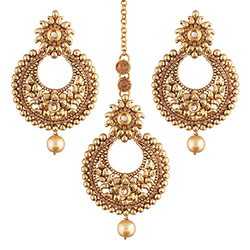 I Jewels Indian Gold Plated Traditional Ethnic Bollywood Style Party Wear Earrings with Maang Tikka for Women (TE2421FL)