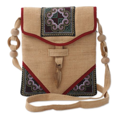 Hemp shoulder bag, 'Miracle Red', Bags Central