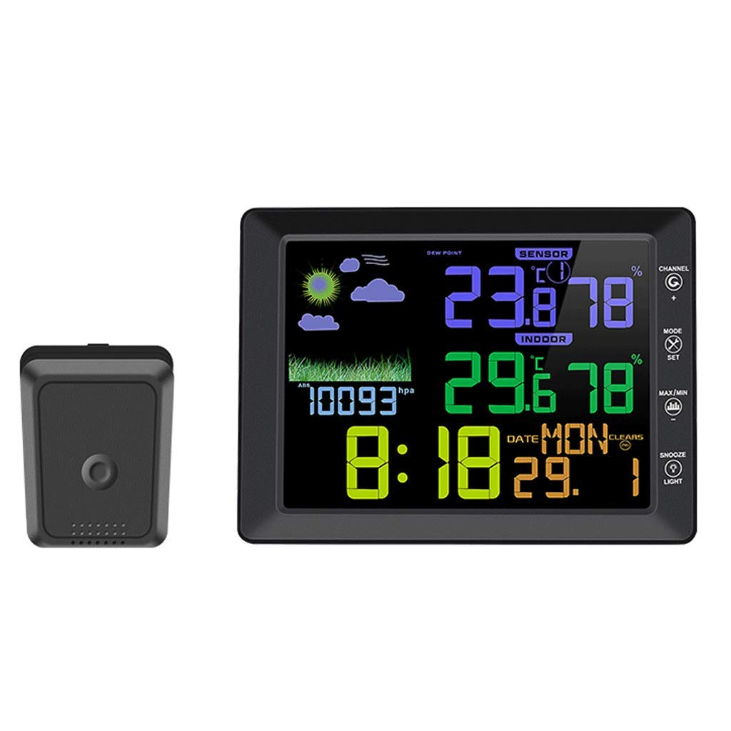 SX Indoor and Outdoor Temperature and Humidity Meter, Wireless Color Screen Weather Clock Voice Control Clock