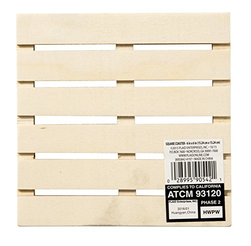 Plaid Unpainted Wood Craft Surfaces Shape, 90542E Square...