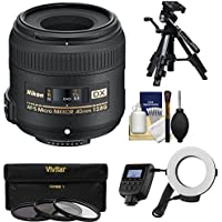 Nikon 40mm f/2.8 G DX AF-S Micro-Nikkor Lens with Ringlight + Tripod + 3 UV/CPL/ND8 Filters + Kit
