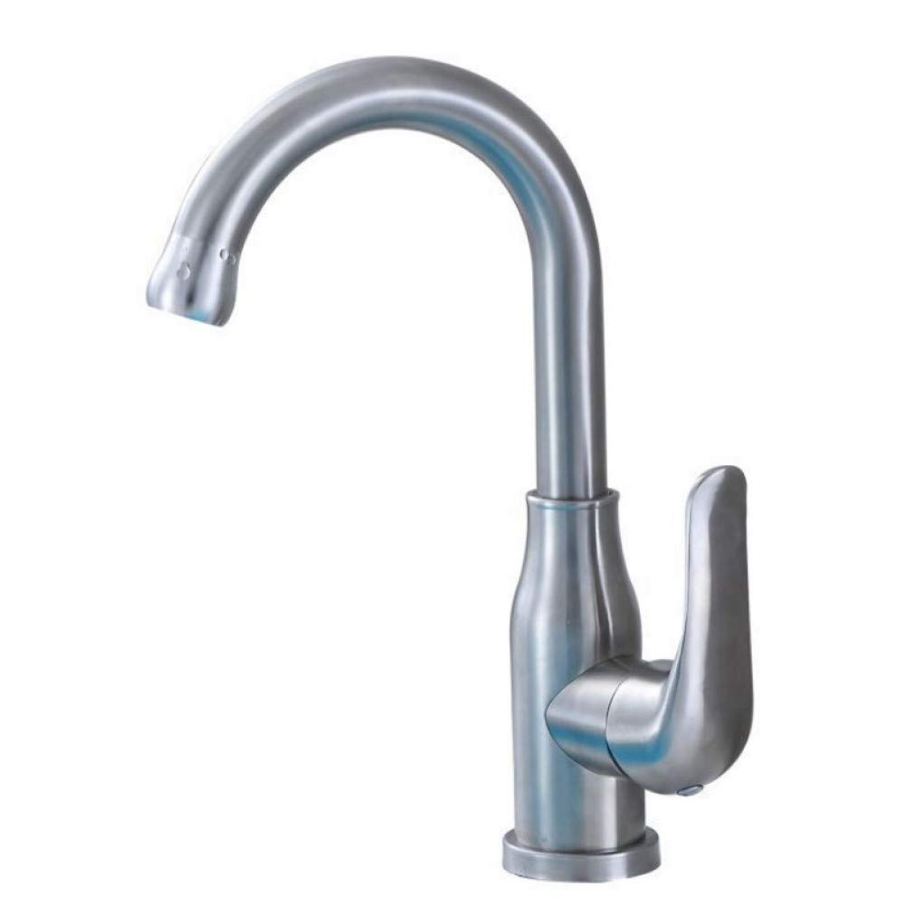 Bathroom Sink Taps YHSGY 304 Stainless Steel Basin Faucet Wash Basin Faucet 360 ° redating Vase New Swan Faucet Hot and Cold Single Hole Faucet