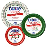 Dixie Ultra Home For The Holidays Christmas Red Green White Paper Plate Bundle, Large, Medium, Small -Dinner 10