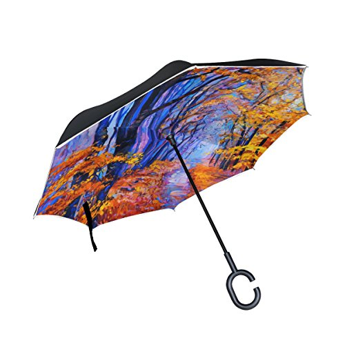 Painting Glass Patterns Reverse (Top Carpenter Double Layer Reverse Inverted Umbrellas Oil Painting Lavender With C-Shaped Handle for Car Outdoor)