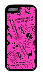 Soft Black Case Cover for iPhone 5C,Pink Retro Graffiti Pattern with Funny Quote Case for iPhone 5C,Pink Case for iPhone 5C