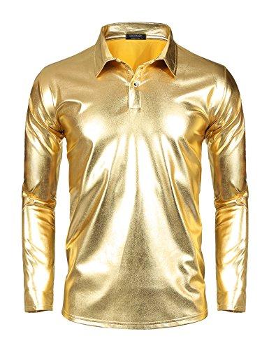 COOFANDY Mens Dress Shirt Silver Sequins Long Sleeve Button Down 70s Disco Shirt Party -
