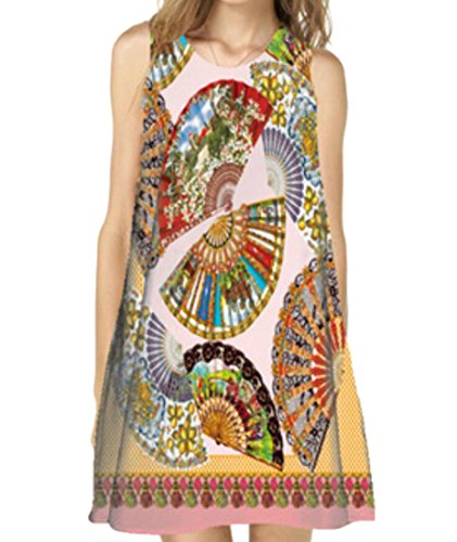 Les 3d De Mode Féminine Domple Imprimé Sans Manches Ras Du Cou Mini Robe Débardeur Décontracté 6