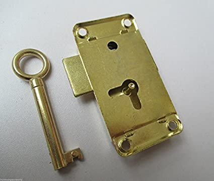 SMALL BRASS PLATED EB WARDROBE LOCK CABINET CUPBOARD DOOR WITH KEY 52mm x 26mm