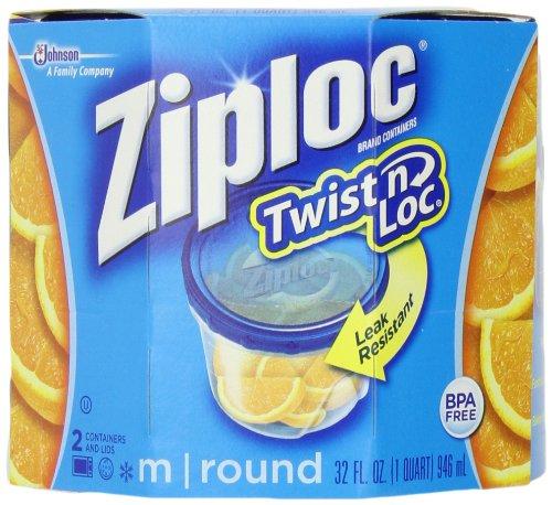 Ziploc Twist 'N Loc, Medium Round, Containers & Lids, 2-Count (Pack of 2)