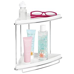 mDesign Metal 2-Tier Corner Storage Organizing Caddy Stand for Bathroom Vanity Countertops, Shelving or Under Sink - Free Standing, 2 Shelves - White/Chrome