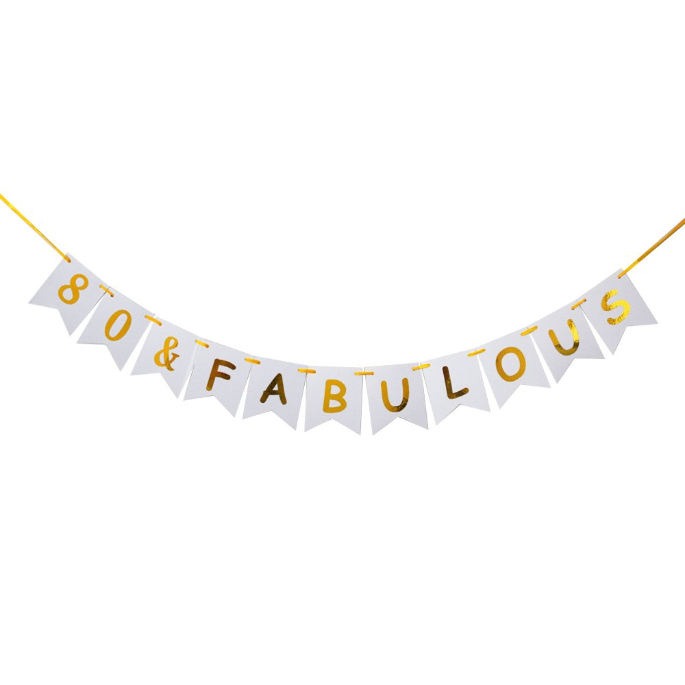 80 Fabulous Banner Happy 80th Birthday Party Decorations Sign Garland Photo Props