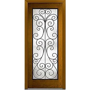 National Door Company Z000175L Prehung Left Hand Inswing Entry Door,  Camelia Decorative Glass, Full