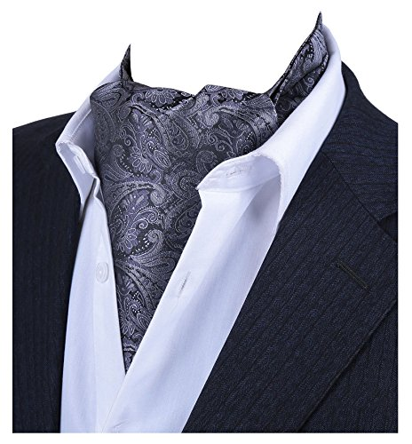 1f172240a6ee L04BABY Men's Dark Grey Pasily Floral Silk Cravat Ties Jacquard Woven Ascot