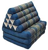 Thai mattress 3 folds with triangle cushion, blue/grey, relaxation, beach, pool, meditation garden (81903)